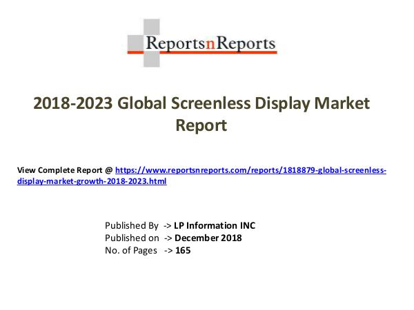 My first Magazine Global Screenless Display Market Growth 2018-2023