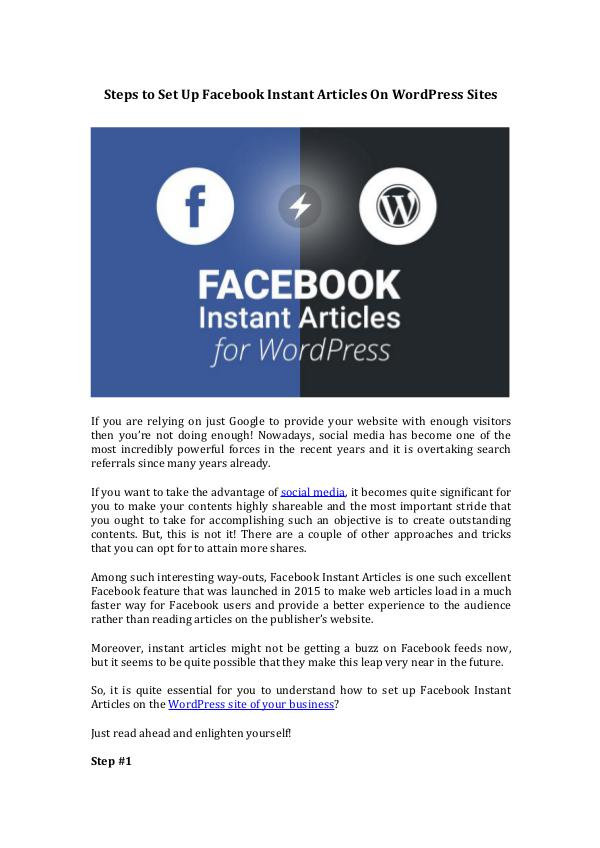 Set Up Facebook Instant Articles On WordPress Set Up Facebook Instant Articles On WordPress