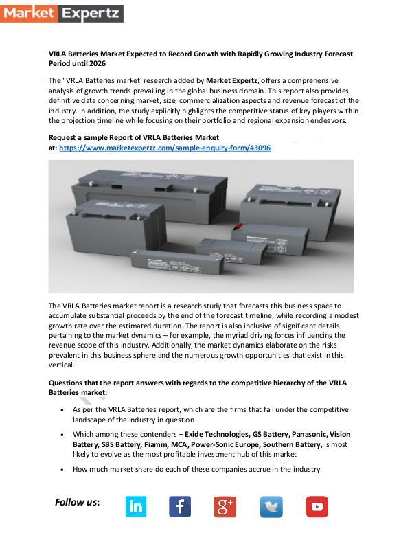 Global Industry Analysis VRLA Batteries Market