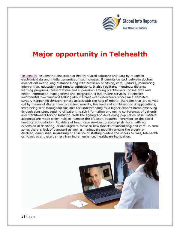 Global Info Reports Major opportunity in Telehealth