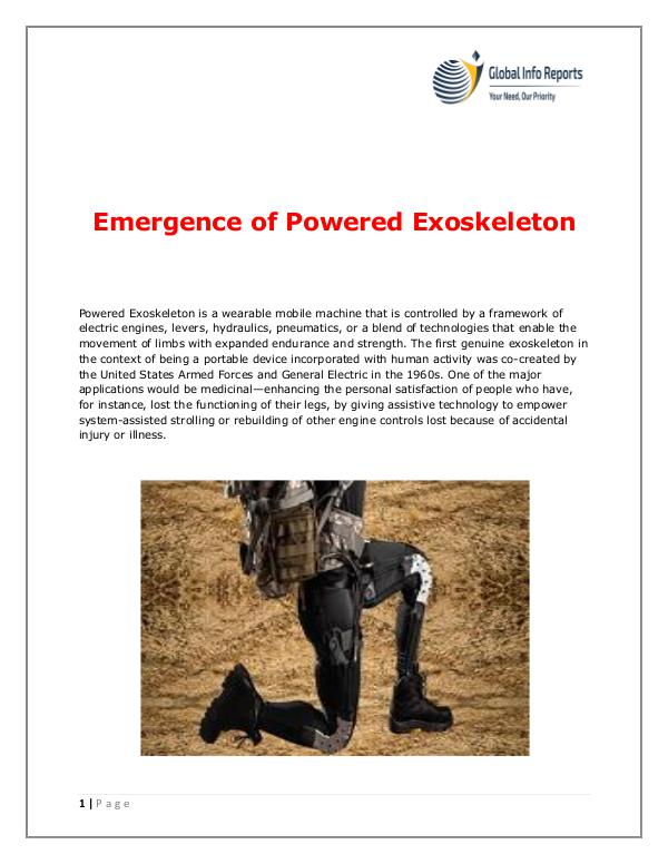 Global Info Reports Emergence of Powered Exoskeleton