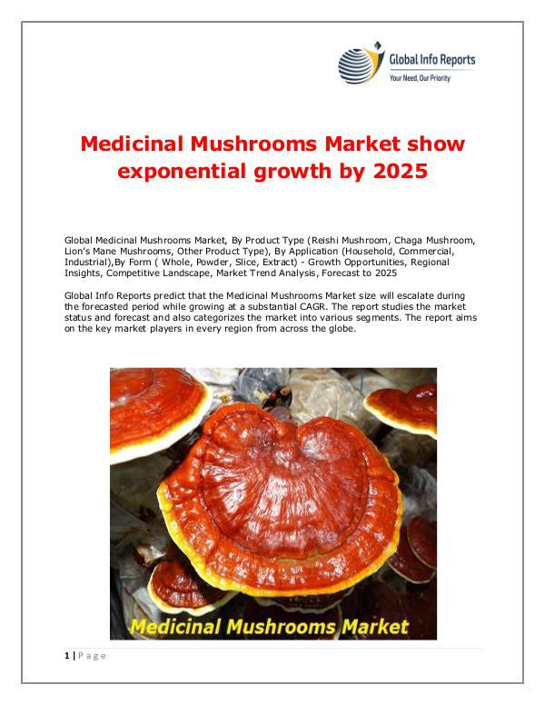 Global Info Reports Medicinal Mushrooms Market 2018