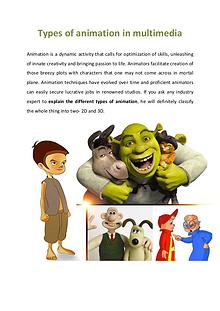 Types of animation in multimedia