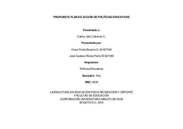 Nuestra Profesión docente en Colombia Plan de acción de politicas educativas