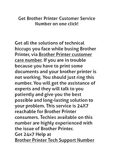 Brother Printer Customer Care Number