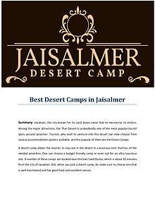 Best Desert Camps in Jaisalmer