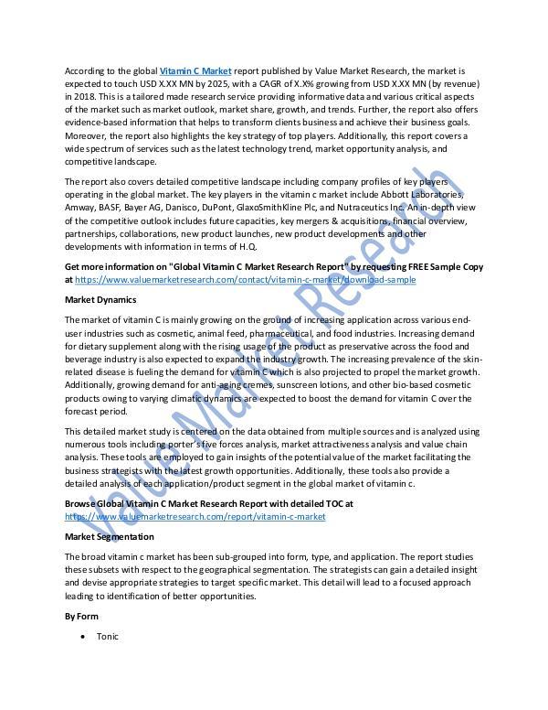 World Industries Vitamin C Market 2018-2025 Research Report