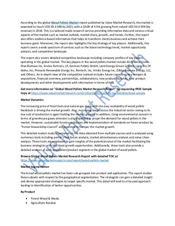 World Industries Wood Pellets Market Analysis Report 2018-2025