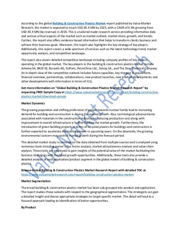 Building & Construction Plastics Market Report