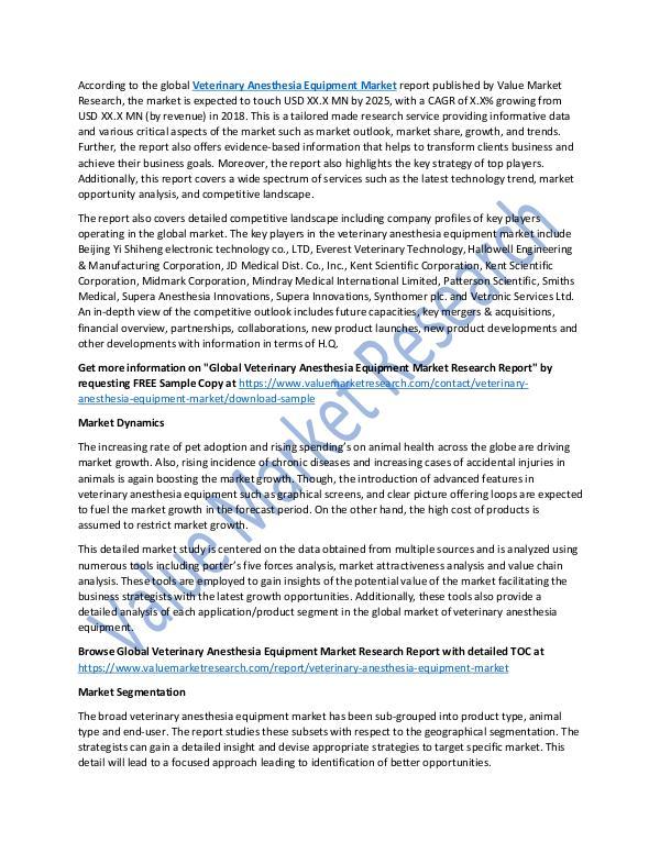 Veterinary Anesthesia Equipment Market Report