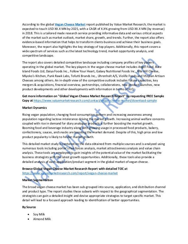 Vegan Cheese Market Research Report 2018-2025