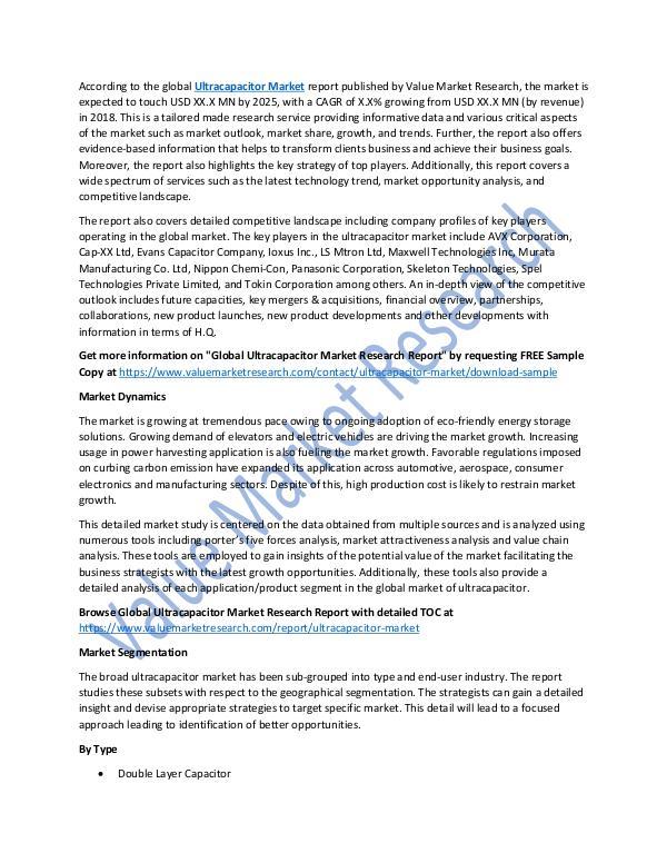 Ultracapacitor Market Analysis Report 2018-2025