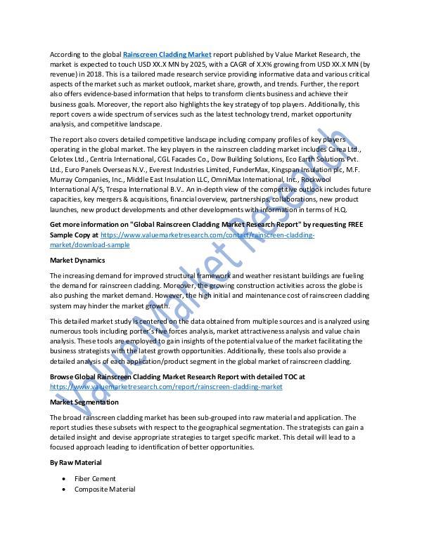 Rainscreen Cladding Market 2018-2025 Report