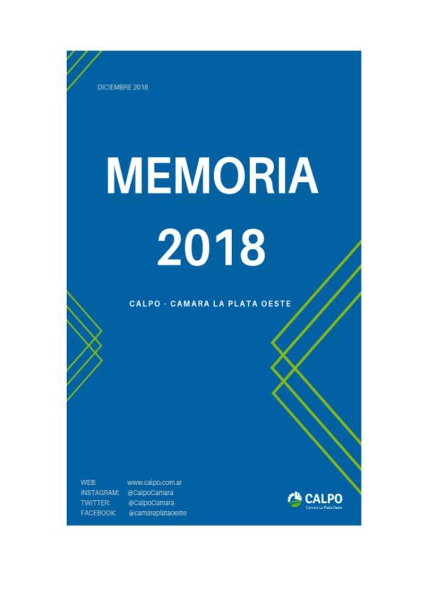 Memoria 2018 - CALPO memoria2018