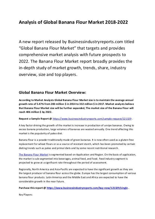 Market Research Report Banana Flour Market Report 2018