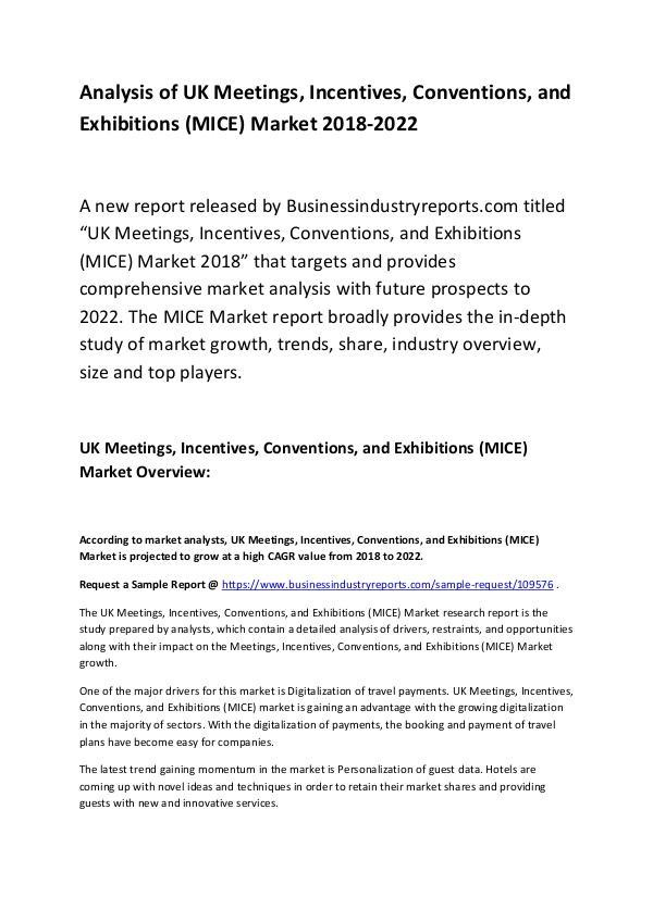 Market Research Report UK MICE Market Report 2018