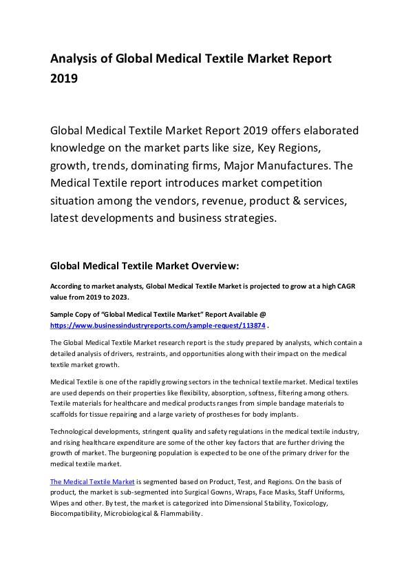 Global Medical Textile Market Report 2019