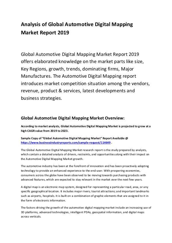 Global Automotive Digital Mapping Market Report 20