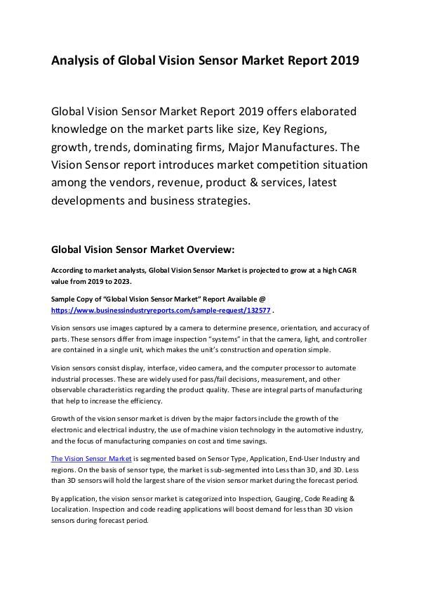 Market Research Report Global Vision Sensor Market Report 2019