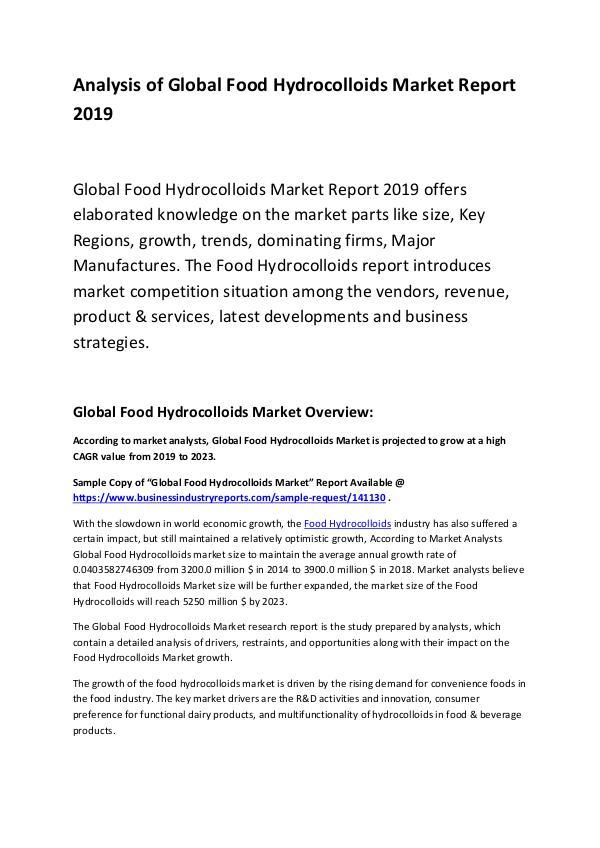 Global Food Hydrocolloids Market Report 2019