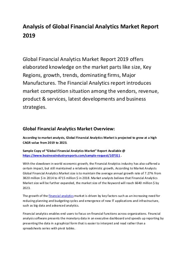 Global Financial Analytics Market Report 2019