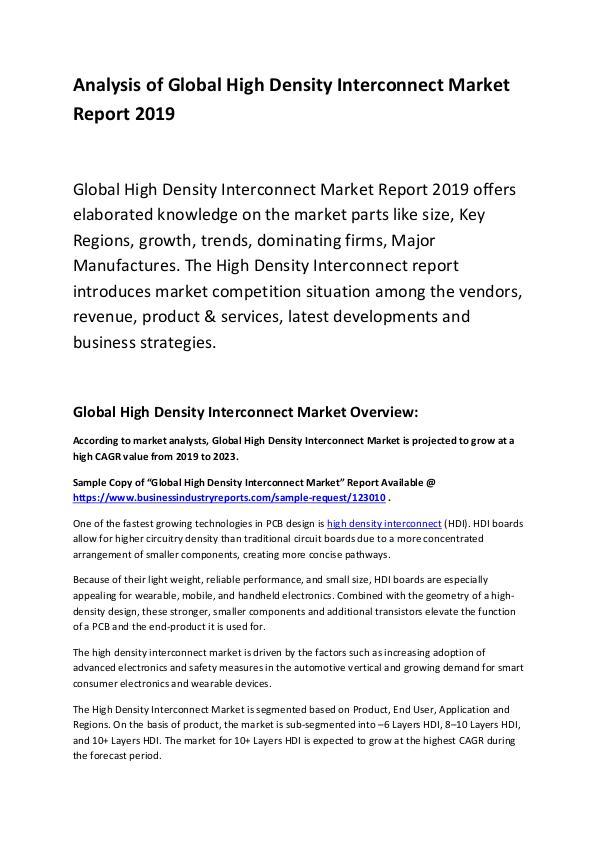 Global High Density Interconnect Market Report 201
