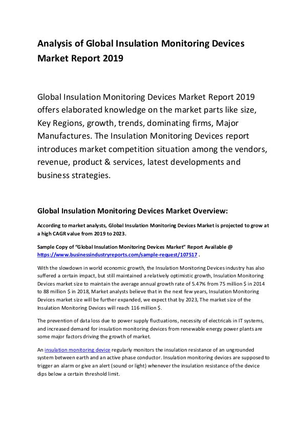Global Insulation Monitoring Devices Market Report
