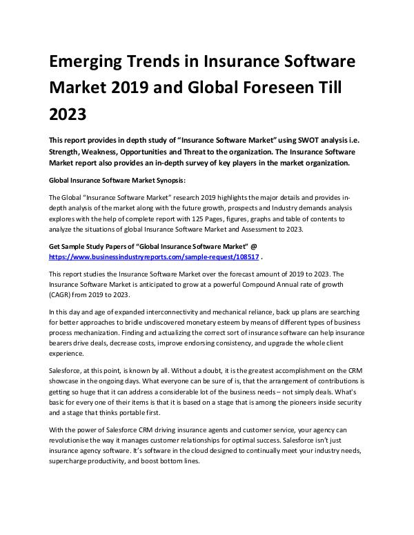 Market Analysis Report Emerging trends in insurance software market 2019