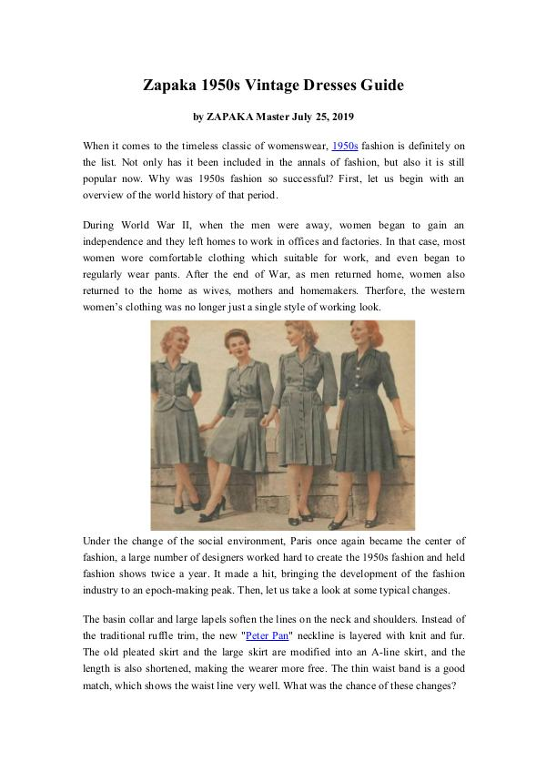 My first work Zapaka Vintage 1950s Swing Rockabilly Dresses Guid