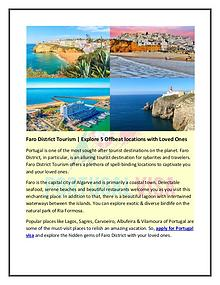 Faro District Tourism | Explore 5 Offbeat locations with Loved Ones