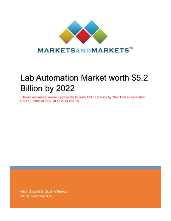 Healthcare Industry Updates Lab Automation Market | Emerging Trends