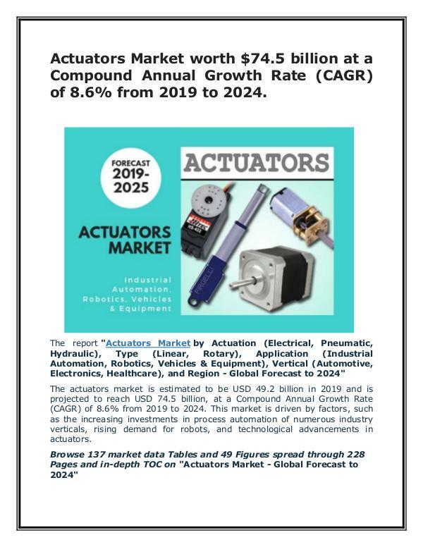 Actuators Market worth $74.5 billion by 2024 Actuators Market 2025