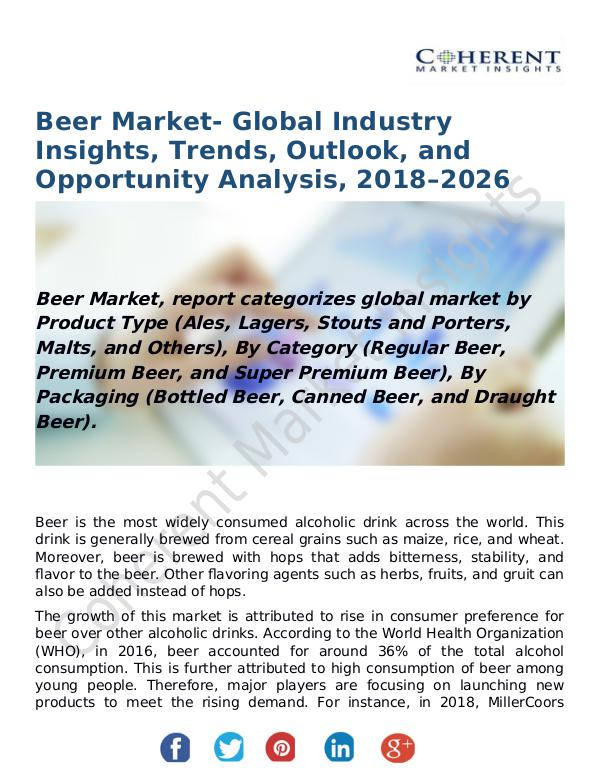 Beer Market- Global Industry Insights, Trends, Outlook, and Opportuni Beer Market