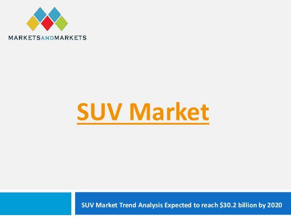 Automotive Market Revenue, Trends, Growth, Technologies, CAGR SUV Market