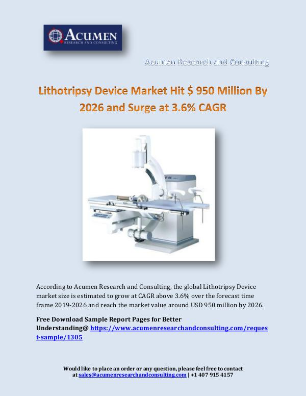 Acumen Research and Consulting Lithotripsy Device Market Hit $ 950 Million By 202