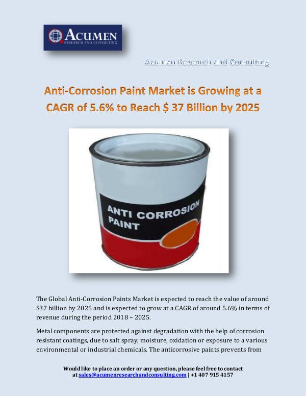 Acumen Research and Consulting Anti-Corrosion Paint Market