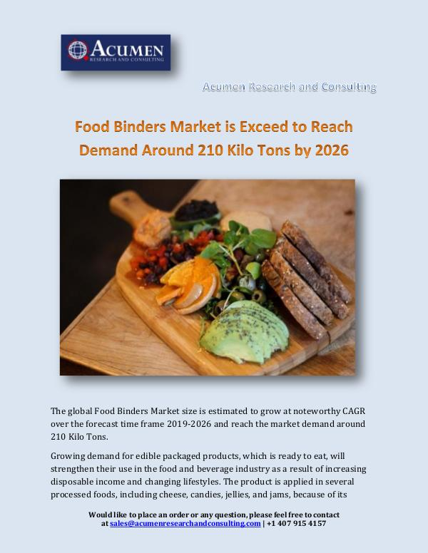 Acumen Research and Consulting Food Binders Market