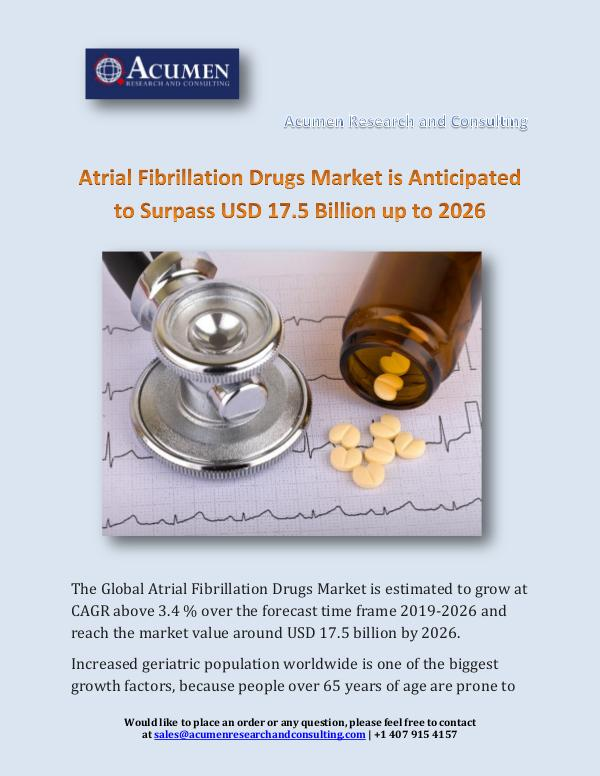 Acumen Research and Consulting Atrial Fibrillation Drugs Market is Anticipated to