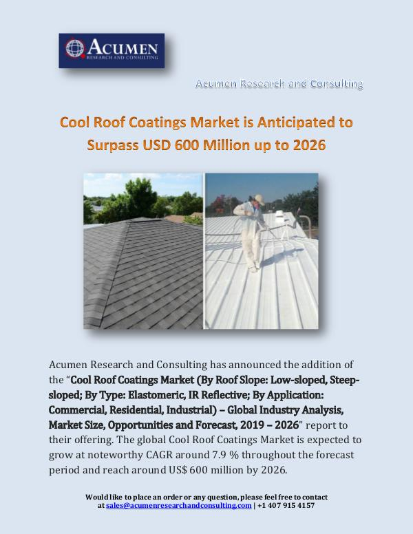 Acumen Research and Consulting Cool Roof Coatings Market is Anticipated to Surpas