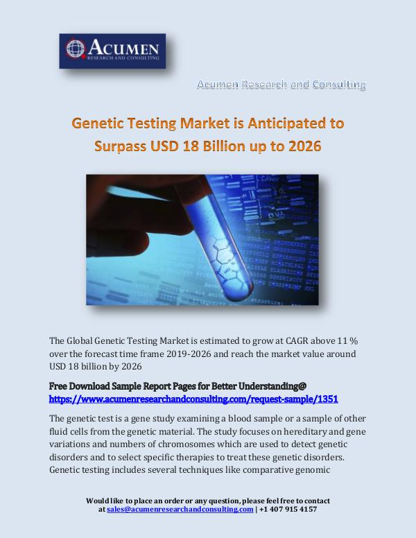 Acumen Research and Consulting Genetic Testing Market is Anticipated to Surpass U