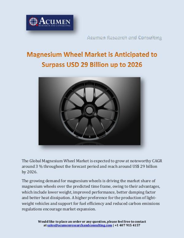 Magnesium Wheel Market is Anticipated to Surpass U