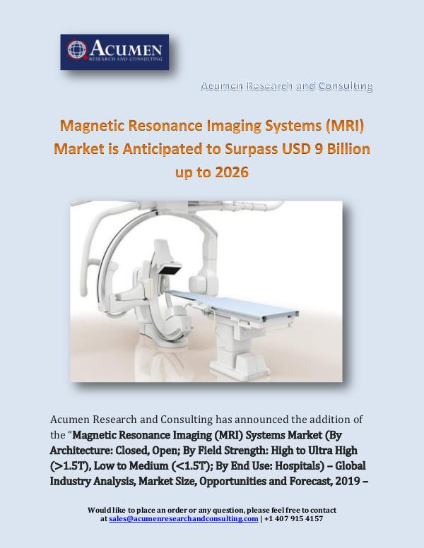 Magnetic Resonance Imaging Systems (MRI) Market is