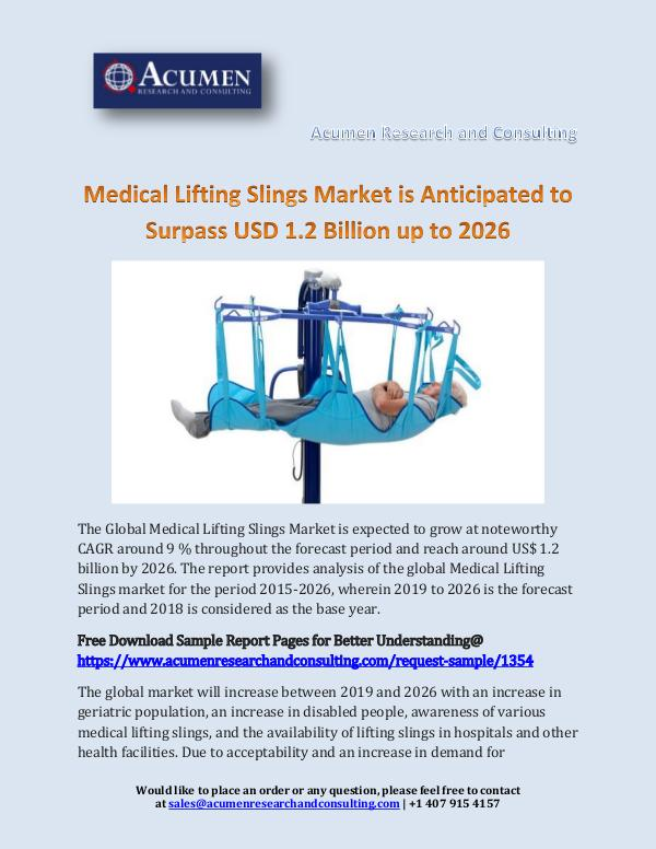 Acumen Research and Consulting Medical Lifting Slings Market is Anticipated to Su