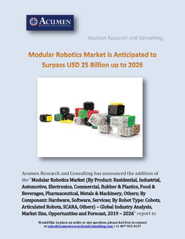 Modular Robotics Market is Anticipated to Surpass
