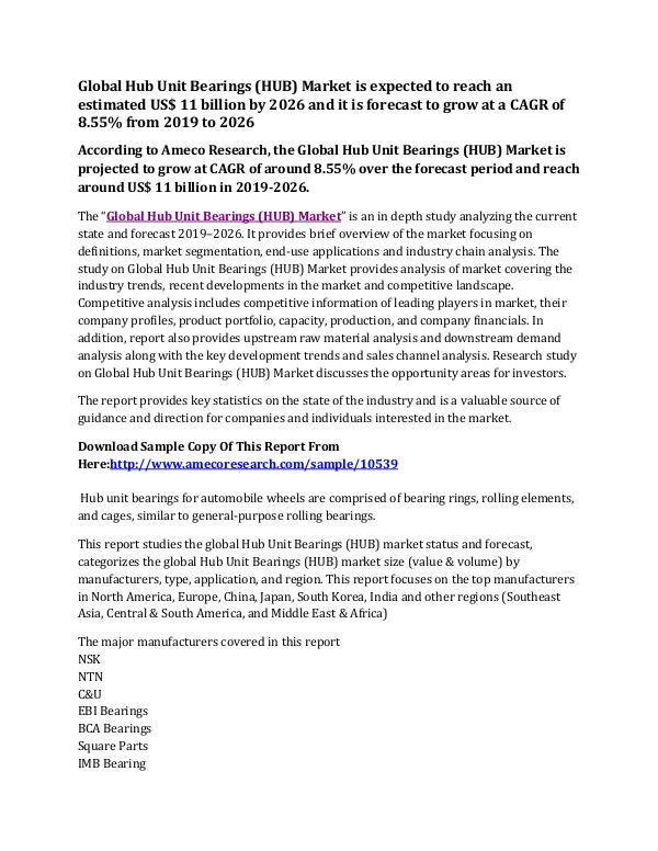 Global Hub Unit Bearings (HUB) Market Research Report 2019-2026 Global Hub Unit Bearings (HUB) Market