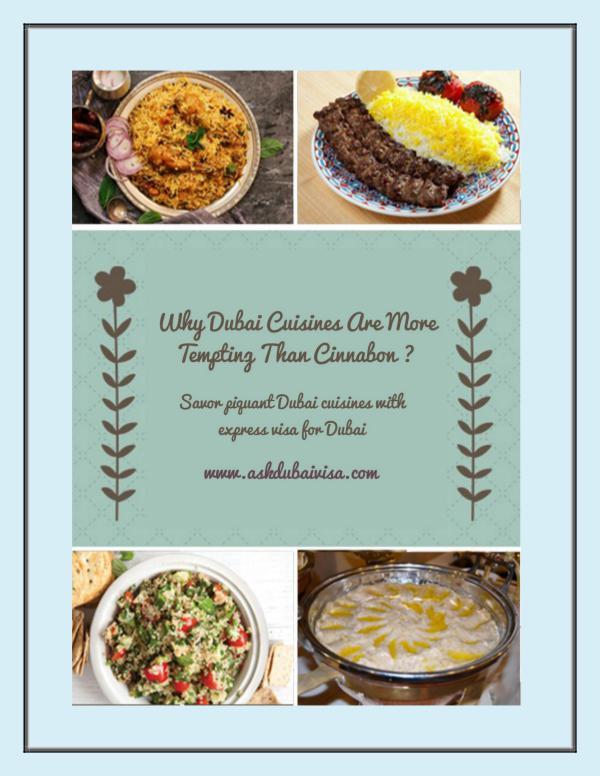 Savor piquant Dubai cuisines with Dubai visa UK
