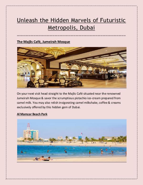 Uncover Jaunty Hidden Places of Dubai