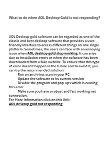 What to do when AOL Desktop Gold is not responding?