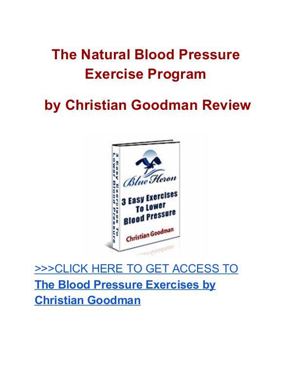 Natural Blood Pressure Exercise Program Christian Goodman review Natural Blood Pressure Exercise Program
