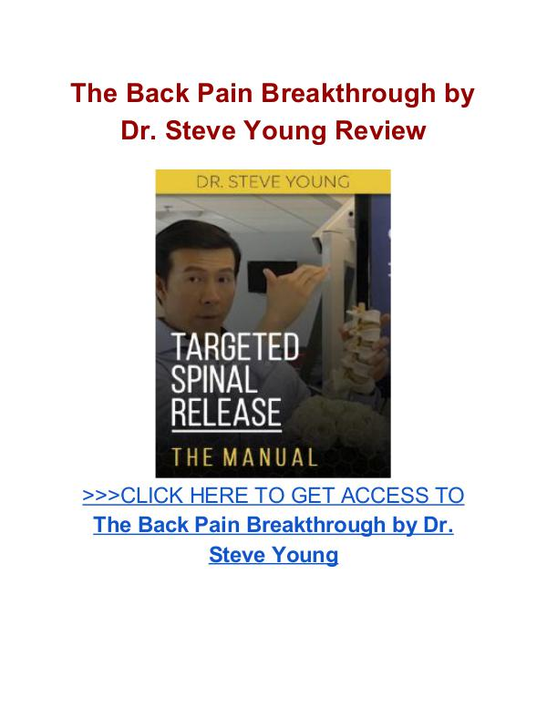 The Back Pain Breakthrough Dr. Steve Young The Back Pain Breakthrough Dr Steve Young review